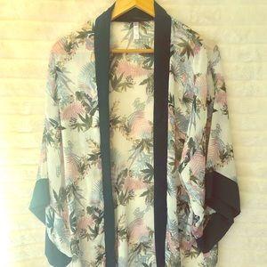 Leaf print long sleeve midi kimono jacket